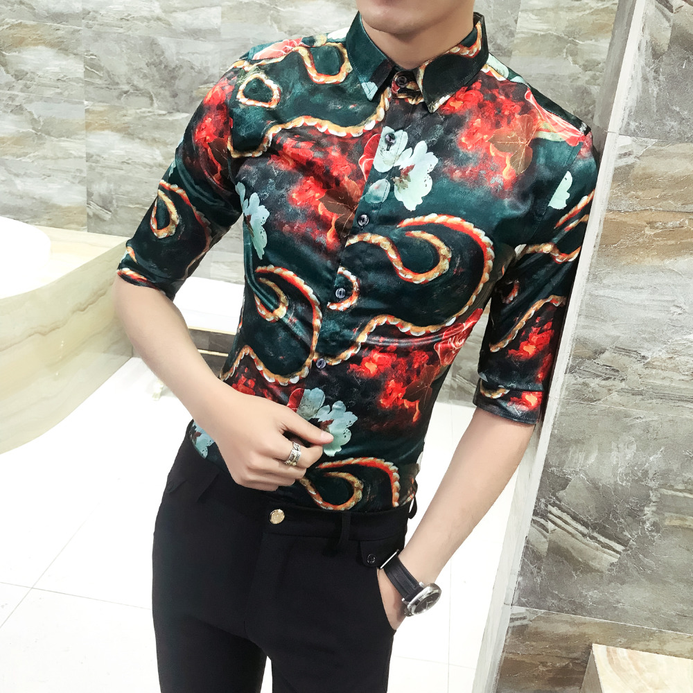 Blouse Homme Summer Brand Fashion Men Shirt Slim Fit Print Half Sleeve Social Shirts Dress Plus Size Casual Work Shirt Men 3XL-M