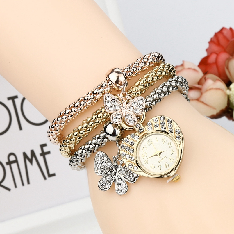 New Arrive 2017 Luxury Rhinestone Bracelet Watch Ladies Quartz Watch Casual Women Wristwatch Relogio Feminino AG-2
