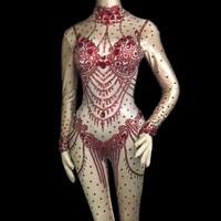 Блестящие кристаллы сексуальное боди костюм цельный вечерний комбинезон отпраздновать день рождения праздничная одежда певица сцена наря