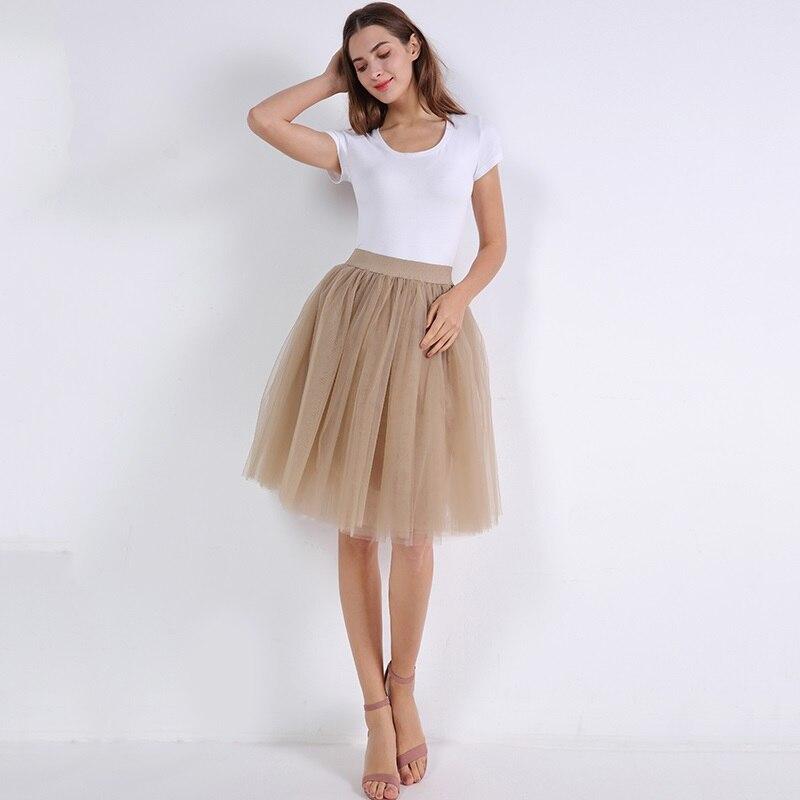 5 Layers 60cm Princess Midi Tulle Skirt Pleated Dance Tutu Skirts Womens Lolita Petticoat Jupe Saia faldas Party Puffy Skirts 27