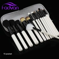 Fadvan 15 Pcs Lot Makeup Brush Powder Foundation Eyeshadow Make Up Brushes Cosmetics Soft Synthetic Hair