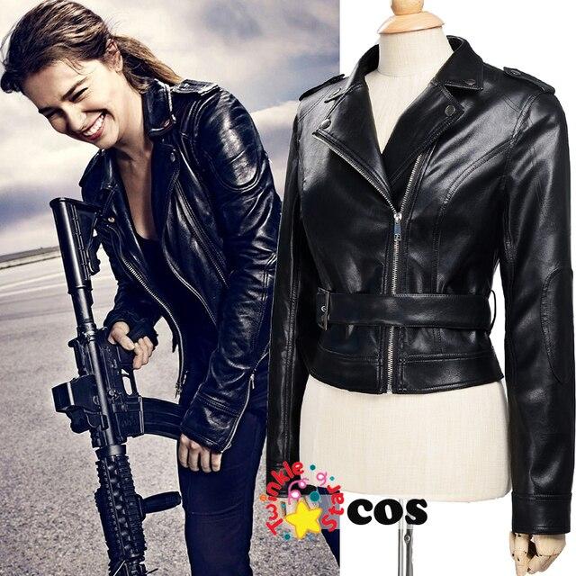 Terminator Genisys cosplay motorcycle women leather jacket 2017 leather brand biker jacket Punk Style Sarah Connor  sc 1 st  AliExpress.com & Terminator Genisys cosplay motorcycle women leather jacket 2017 ...