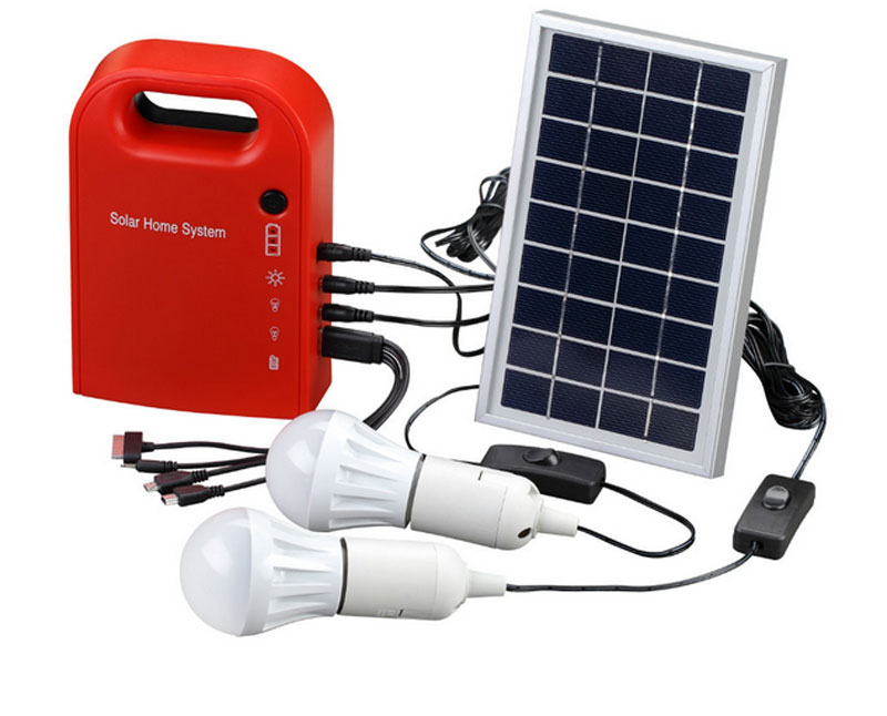 Portable Solar Power Home System Energy Kit Include 4 in 1 USB Cable Solar Panel 2