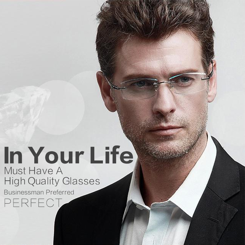 high clear glasses frames for men eyeglasses frame luxury business rimless rhinestone reading optical prescription eyewear