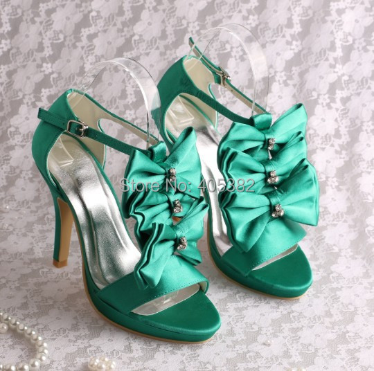 (20 Colors)Custom Color Ladies High Heel Green Summer Sandals Party Shoes with Butterfly