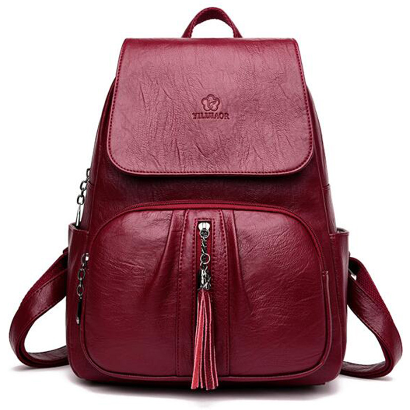 Soft Surface Pu Leather Tassel Solid Color Travel Bag Casual Fashion Travel Large Capacity Backpack