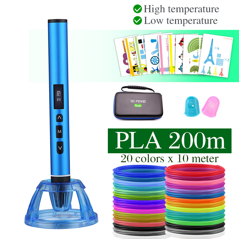 High and low temperature 3D pen, 3D printing pen, can use PCL PLA filament. Metal case with carrying case, birthday present(China)