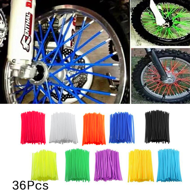 36Pcs  Wheel Spoke Cover Motorcycle Dirt Bike Wheel Spoke Covers Wrap Tubes Decor Protector Kit  Fluorescent Decoration