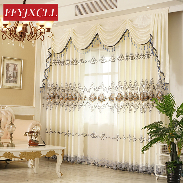 Customized Luxury Europe Valance  Floral Curtains Cloth for Living Room Bedroom Window Curtain Embroidered Tulle Home