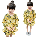 New Children Autumn Dress Country Style Baby Girls Long Sleeve Clothes Geometric Yellow Kids Princess Dresses 2-8 Years tyh45322