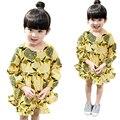 Nuevos Niños Otoño Vestido de Estilo Country Baby Girls Ropa de Manga Larga Geométrica Amarillo Vestidos de Princesa Niños 2-8 Años tyh45322