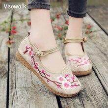 Veowalk Plum Embroidered Women Casual Cotton Fabric Ballet Flats Handmade Ladies Comfort Canvas Platform Shoes