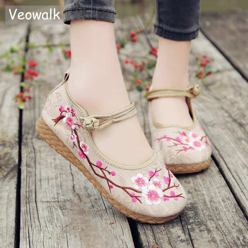 Veowalk Plum Embroidered Women Casual Cotton Fabric Ballet Flats Handmade Ladies Comfort Canvas espadrilles Platform Shoes e lov new arrival luminous canvas shoes graffiti pisces horoscope couples casual shoes espadrilles women