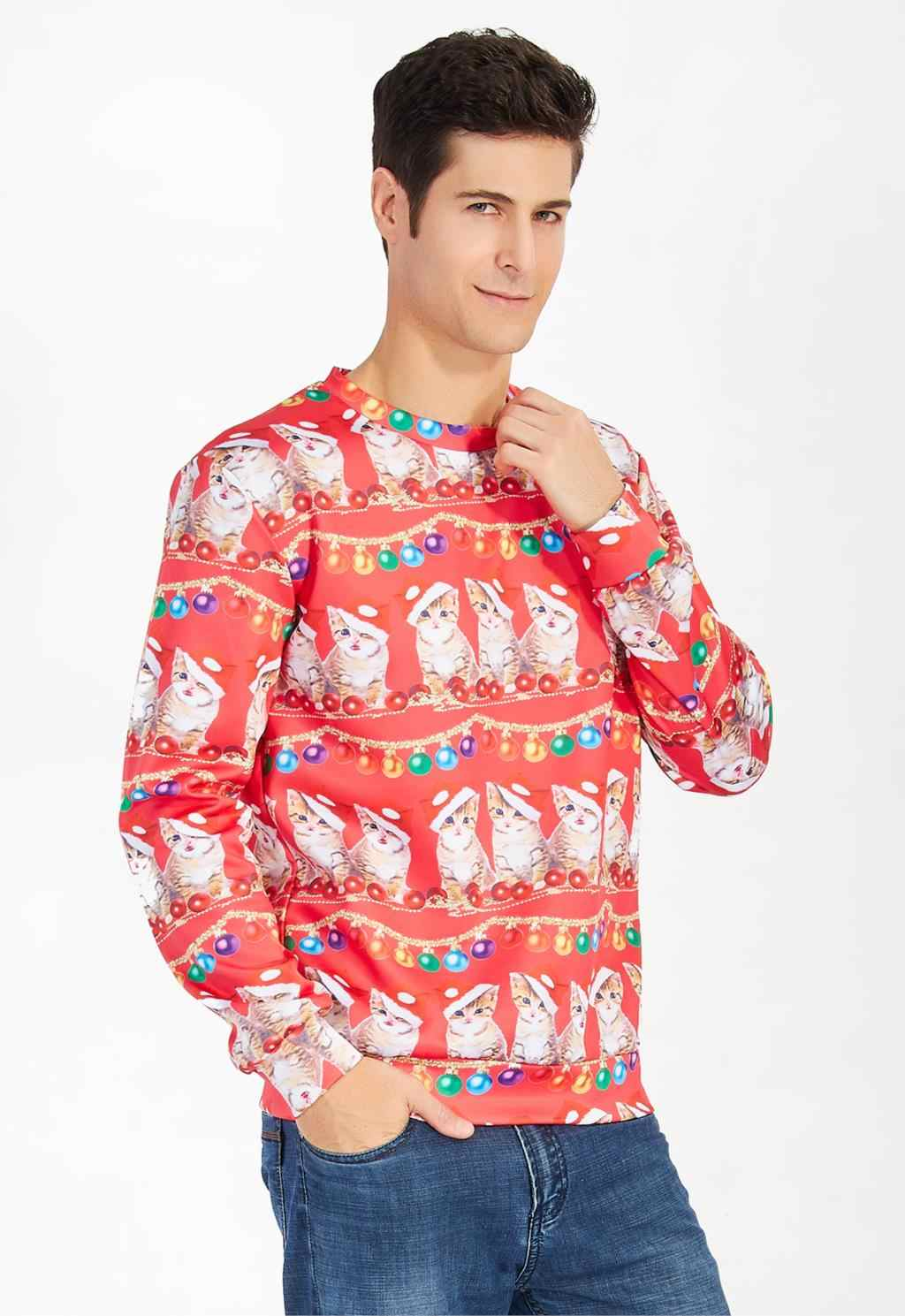 1ee9c838c2bd8 ... Alisister Ugly Christmas Sweater Santa Claus Print Loose Hoodie Men Women  Pullover Christmas Novelty Autumn Winter ...