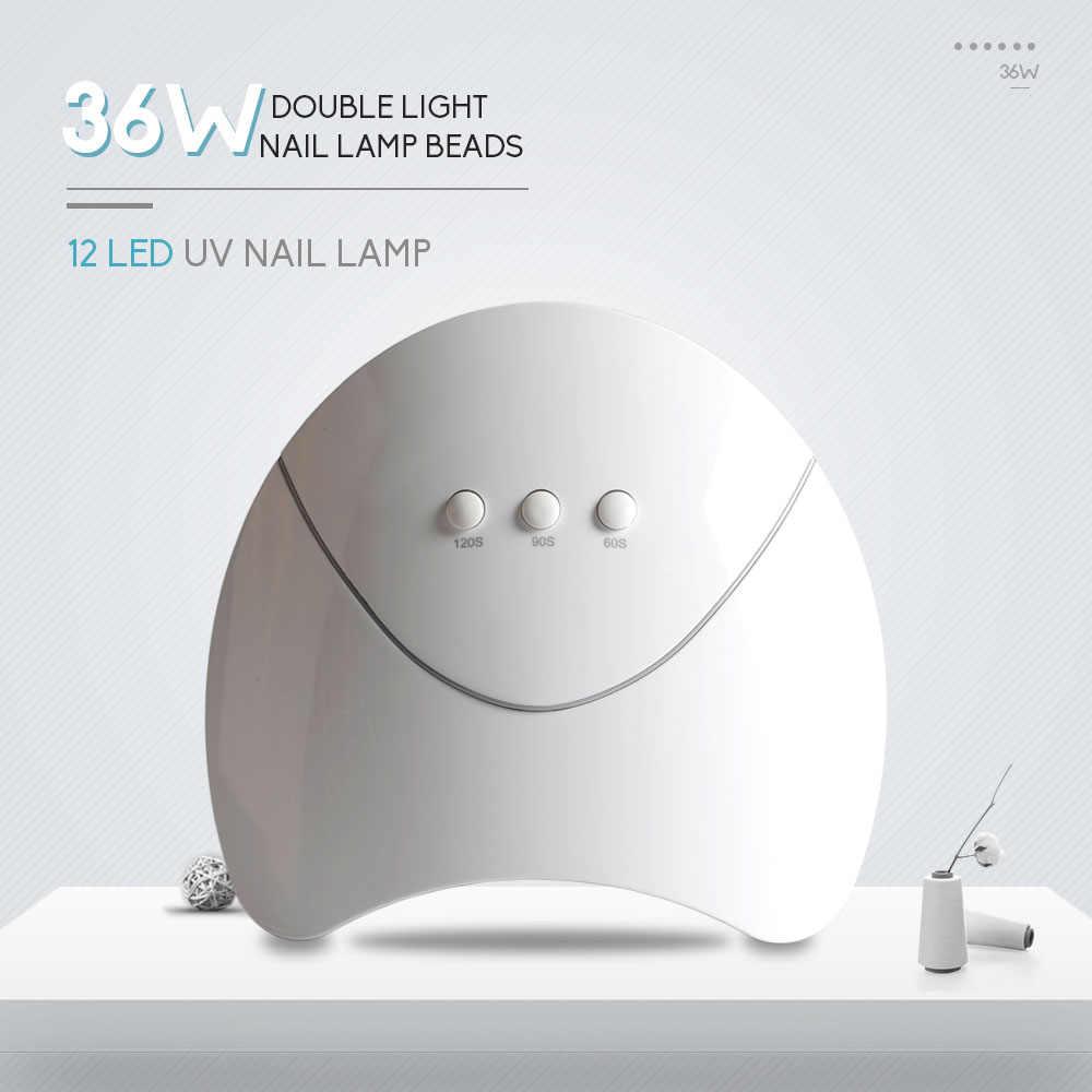 36W مسمار مصباح تدريم UV LED جيل للأظافر مع 12 المصابيح مسمار تلميع الأظافر بالجيل جميع أنواع هلام الموقت USB موصل ماكينة تجفيف الأظافر