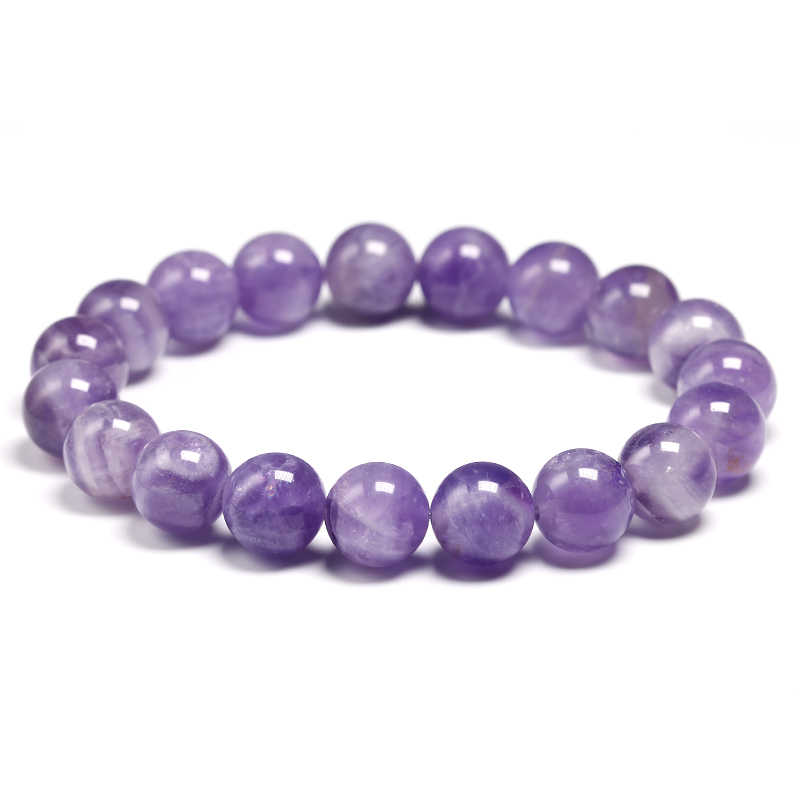 Natural Dream Amethysts Quartz Energy Light Purple GemStone Bracelet Women Beaded Stretch Bracelet Energy Gift Jewelry