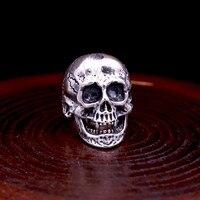 2018 Vintage Thailand Ring 100% Real 925 sterling Thai Silver Men Punk Rock Skull Adjustable Ring bague homme argent 925