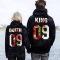 Новая Мода Цветы Печати Король Королева Толстовка Кофты Пара Случайных Толстовки Пуловер С Капюшоном Женщины Мужчины Любители Топы Толстовки 2017
