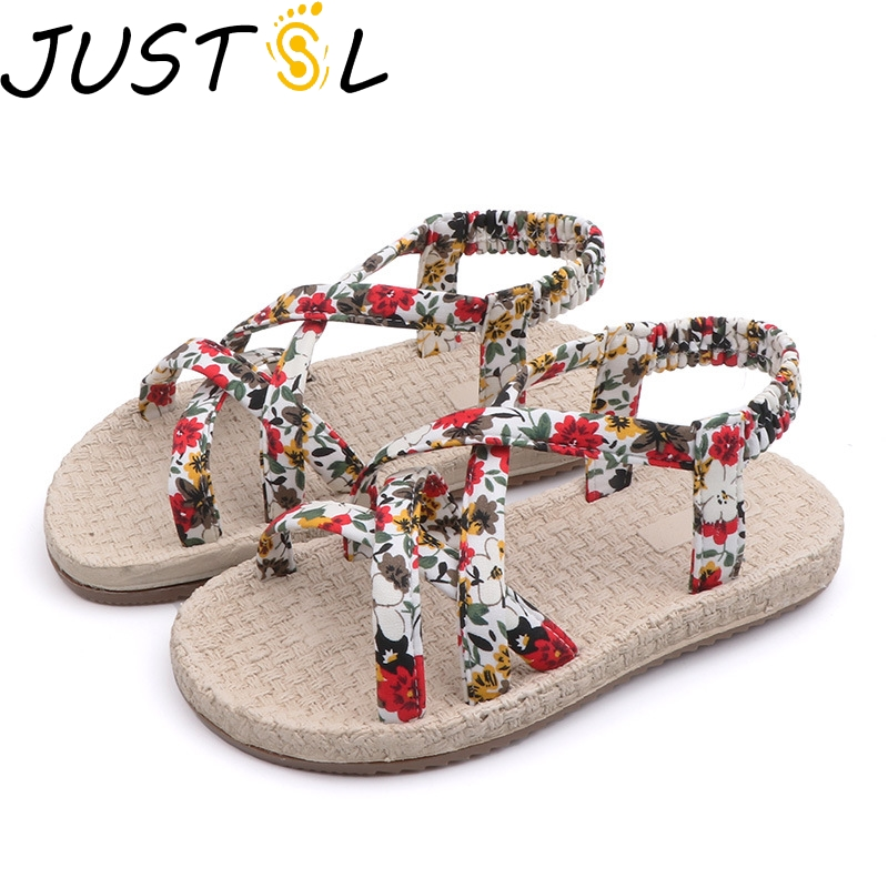 JUSTSL Sandals Shoes Kids Woven Childen Flat Girls Summer Fashion with Straps Non-Slip