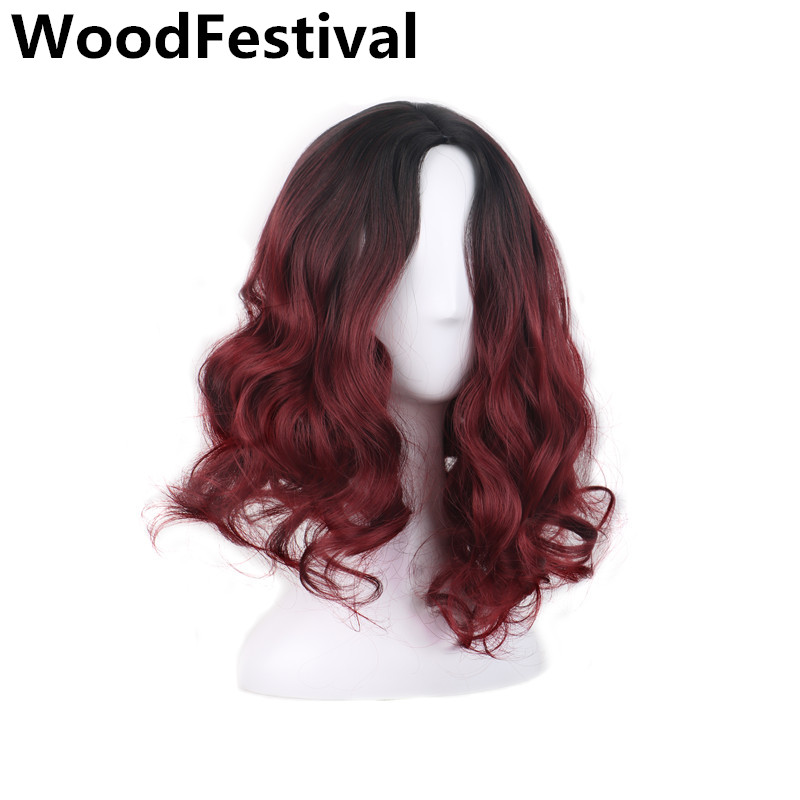 WoodFestival short wig curly ombre burgundy wig short wigs for women synthetic wigs heat ...