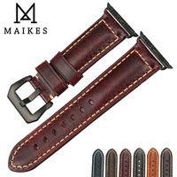 MAIKES Genuine Leather Watch Band For Apple Watch 38mm 42mm Series 1 2 3 Vintage Apple
