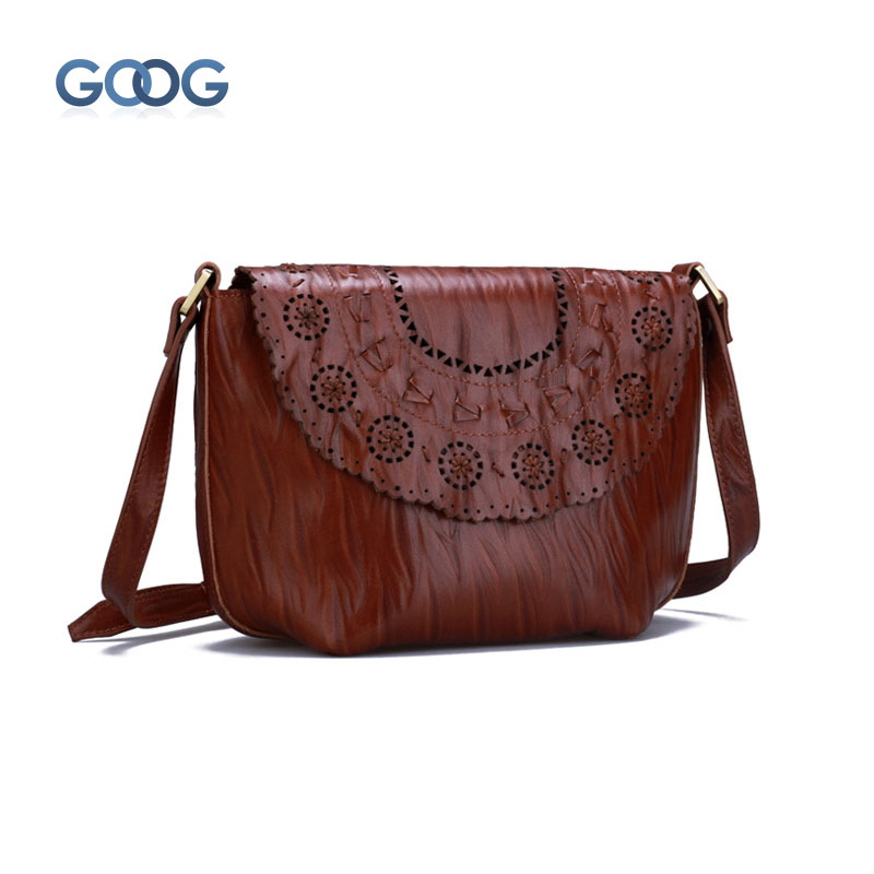 Original new female Messenger bag personalized retro hollow shoulder bag leather first layer of leather wrinkle casual Korean ve