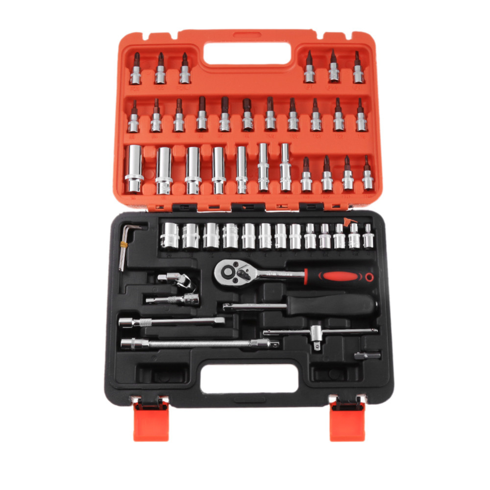 46pcs/53pcs Car Ratchet Wrench Set 1/4 4-14 mm Socket Sleeve Torque Wrench Combination For Car Motorcycle Bicycle Repair Tools free shipping free shipping 46pcs set steel auto sleeve combination tool wrench set car and motorcycle repair tools