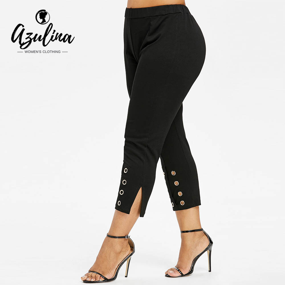 AZULINA Plus Size Grommet High Rise   Pants   Women   Capris   Summer Skinny High Waist Pencil   Pants   Ladies Trousers Big Size Clothing