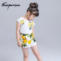 Girls Clothing Set Lemon Printed Brand Shirt Skirt Suit Girls Clothes Kids Children Clothing Outfit Spring