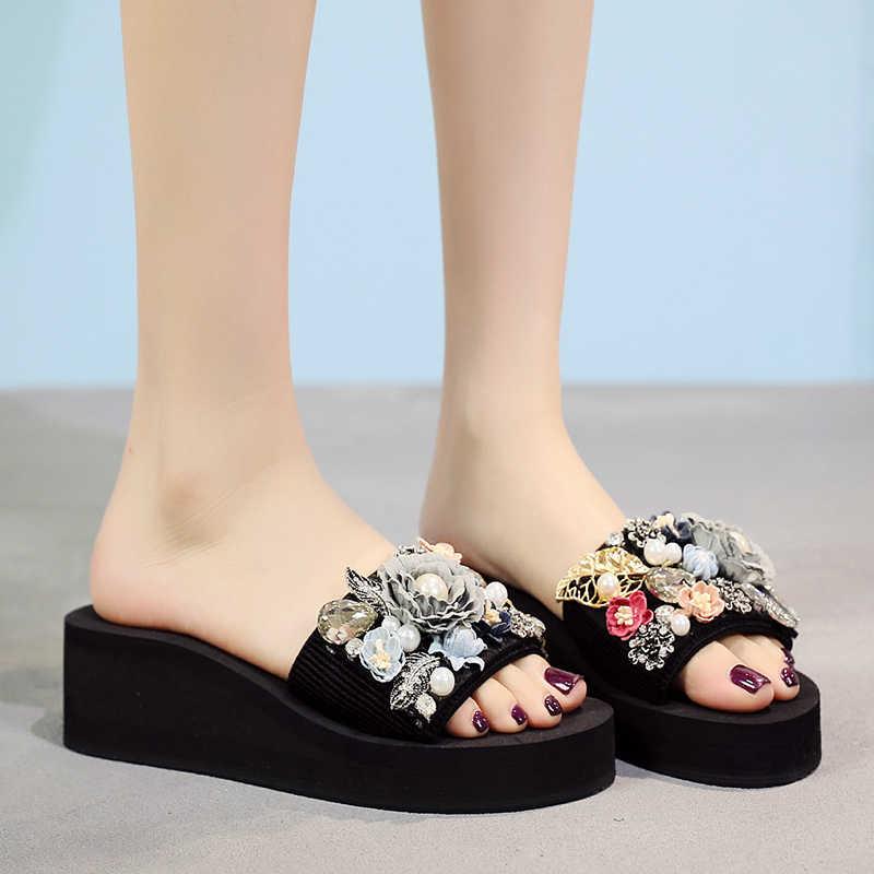 HEFLASHOR Torridity DIY Terlik Rahat Dış Kadın Moda Bayan Bayan Flop Ayakkabı Plaj düz ayakkabı Düşük Topuk 3/5/ 7 cm