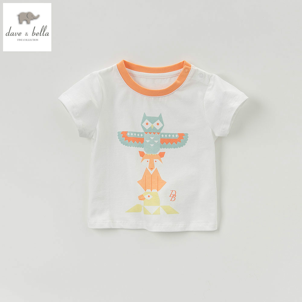 DB5255 dave bella summer baby girls boys printed t shirt baby infant clothes children toddle top childs high quality tees