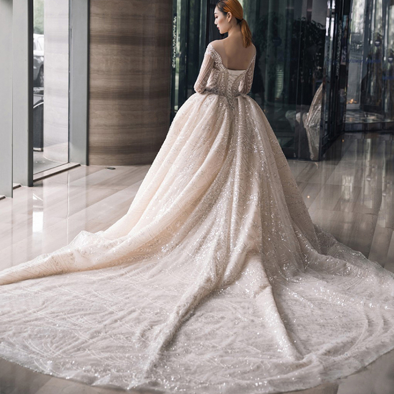 Luxury lace white wedding dress with bling 2019 bride ...