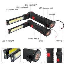 Магнитный СВЕТОДИОДНЫЙ Фонарик USB Аккумуляторная COB Рабочая Лампа 5 Режимов Led Torch Lanterna
