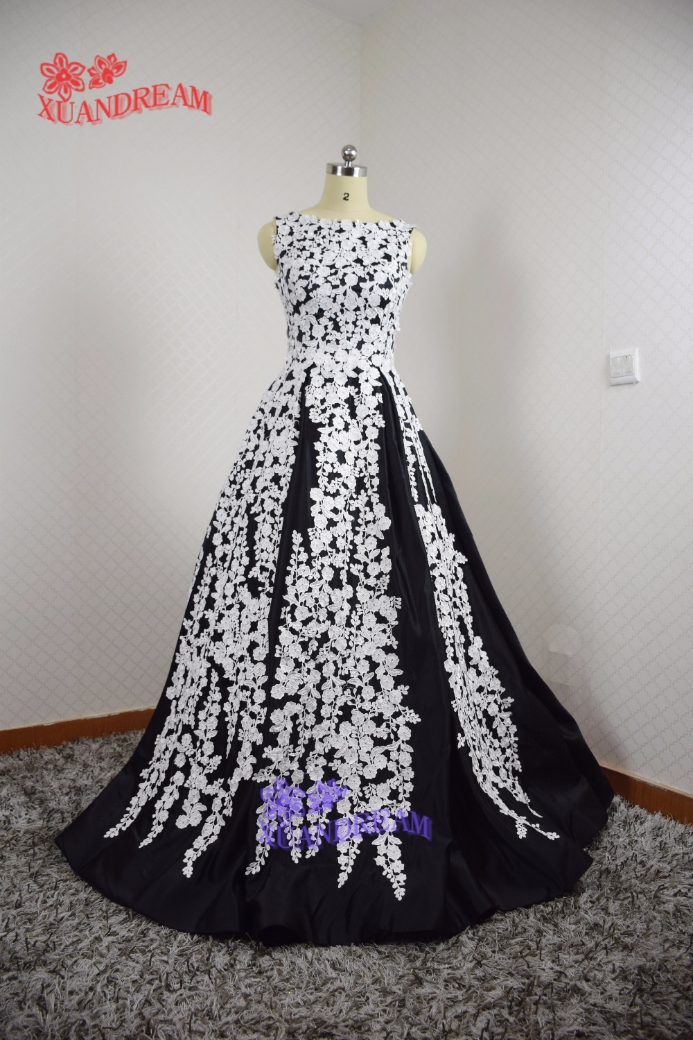 Special occasion flower evening gown vestido de festa whole appliques black  and white elegant long evening 64cc93923f3e