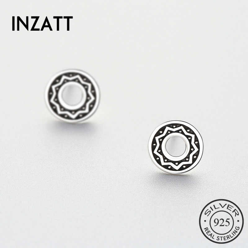 INZATT Vintage Real 925 Sterling Silver Hollow Round Stud Earrings Sunflower Totem Casual Accessories For Women Jewelry Gift