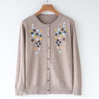 Women's Cardigan Knitted Sweater Long Sleeve embroidery Crochet Female Cardigan With Buttons Sweater Women Cardigans outerwear