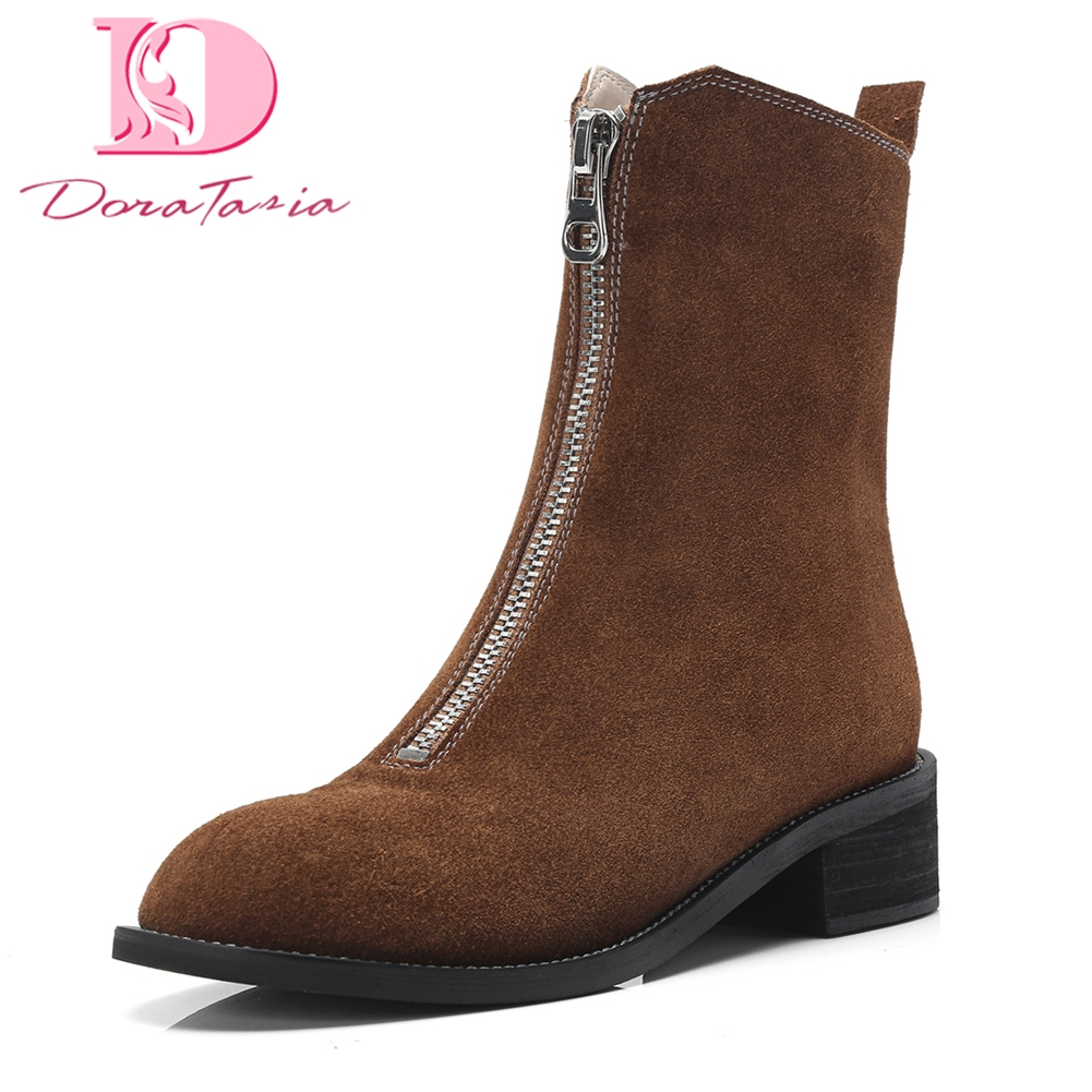 brown Martin Doratasia Boot brown 2018 black With Cheville Black De Femmes Zip Bottes Vache Spéciale Leahter Offre Suède Chaussures Loisirs Femme Up Fur Fur rdCxBoe
