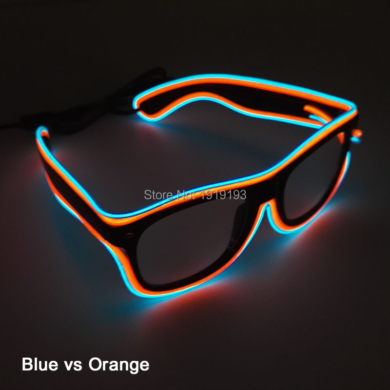 Najnowszy Kind Double Kolorowe EL Wire Neon LED Light Up Okulary wakacyjne oświetlenie SunGlasses dla DJ dance Ball Party Decoration