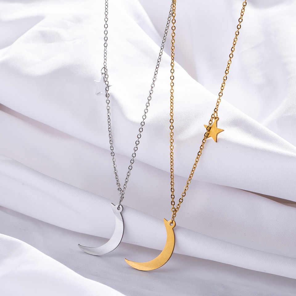 クラシックステンレス鋼の女性のネックレスファッションゴールデン & シルバームーンスター鎖骨チェーンネックレス女性のセーターチェーン