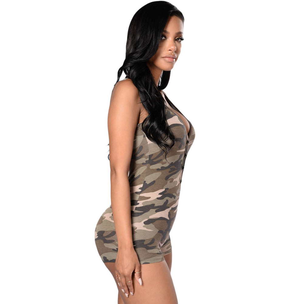 Sexy V-neck Sleeveless Camouflage Romper Shorts Bodysuit