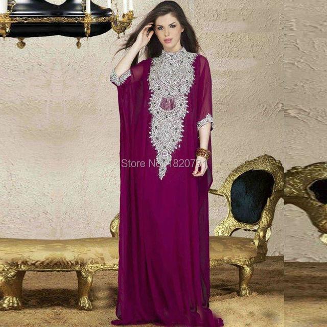 2020 Arabic Fashion Evening Dresses For Muslim Saudi Arabian Kaftan Dubai Luxury Womens Cheap Crystals Sequins Purple