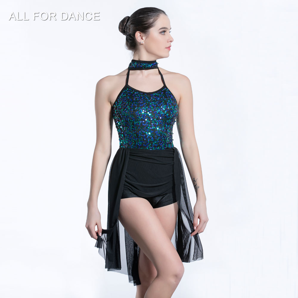 Green sequin Bodice with mesh skirt ballet dress Girl & Women stage performance ballet costumes lyrical & contemporay balletwear image