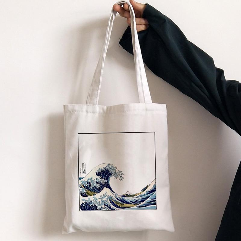 Повседневная Холщовая Сумка с японским волнистым принтом, женская наплечная сумка, модные сумки-мессенджеры в стиле Харадзюку С мультиплик...