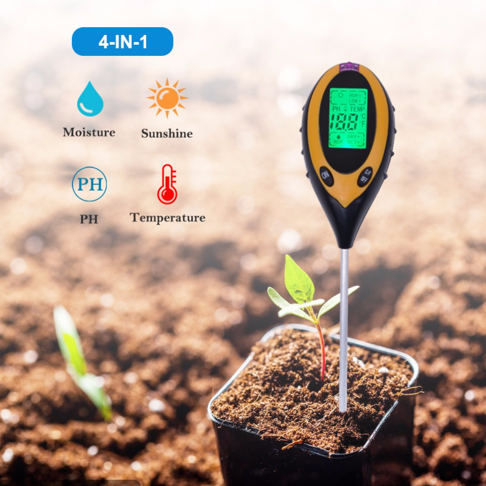 Werkzeuge 4in1 Anlage Erde Boden Ph Feuchtigkeit Licht Boden Meter Thermometer Temperatur Tester Sonnenlicht Tester Analysatoren