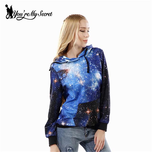 [Você é meu segredo] azul galaxy digital print mulheres moletom com capuz casual new outono inverno da longo-luva hoodies o-pescoço