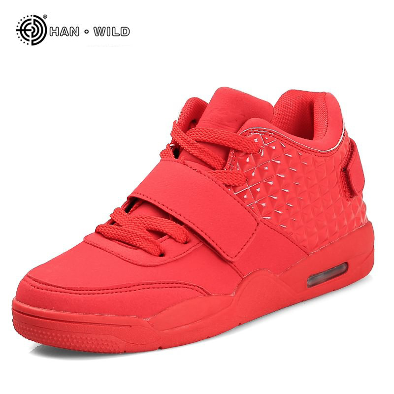 New Fashion Winter Men Casual Shoe Spring Red Faux Suede Mens High-top Slipon Shoes Breathable Boots Red Botas