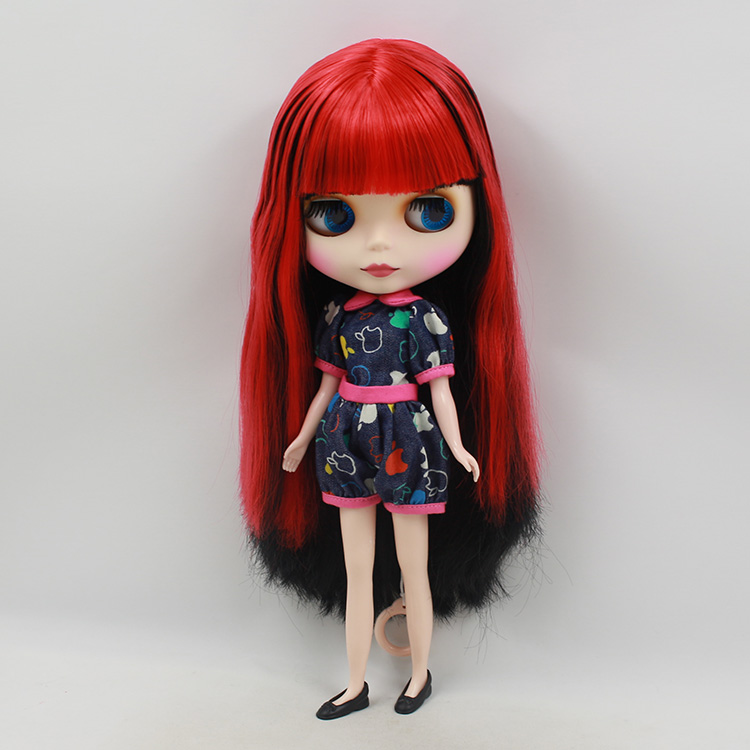 Blyth nude 30cm fashion red and black boneca cabelos longos bonecos colecionaveis doll toys for children girls bjd doll 1 6 boneca negra blyth doll with joint body bonecos colecionaveis blyth nude doll baby dolls for girls
