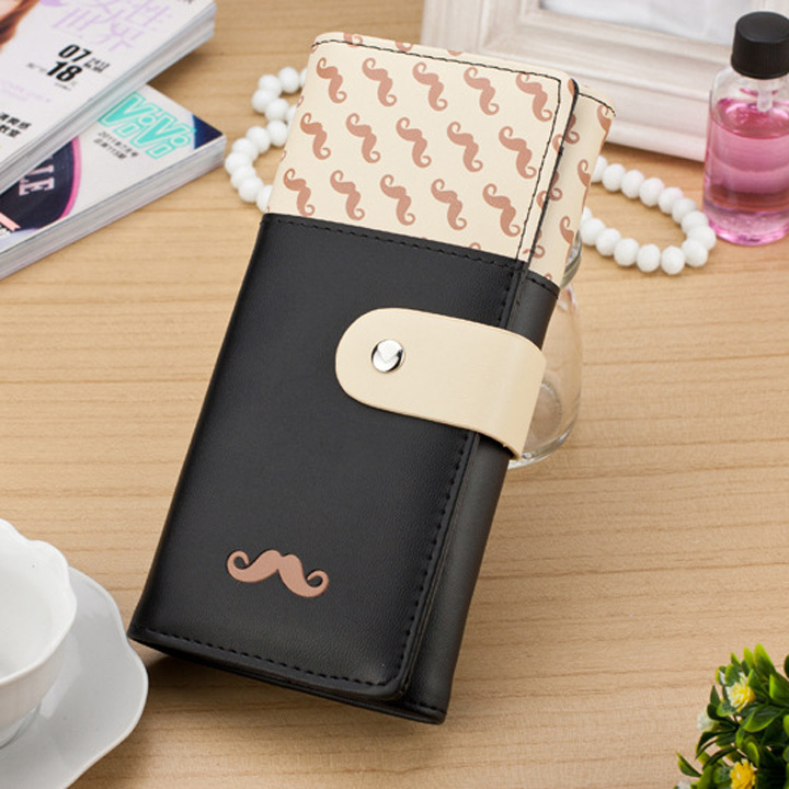 2018 carteira feminina Smooth PU Leather Wallet Cute Mustaches Pattern Purse Clutches Coin Purse Cards Holder Bag for Women AGD 2