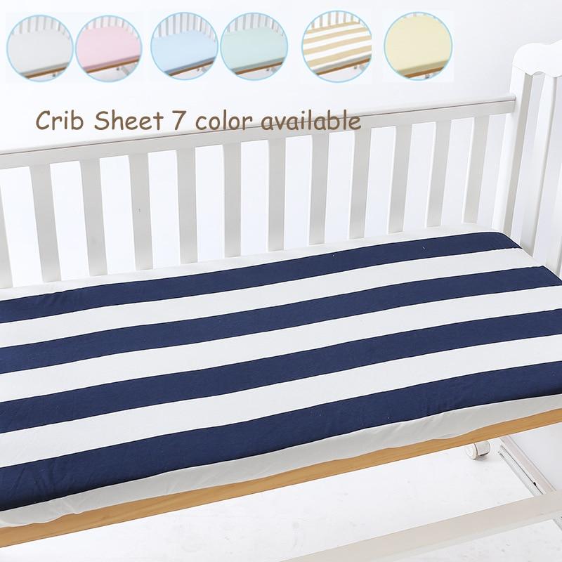 7 Färg 3 storlekar tillgängliga Stickat bomullsström Fitted Sheet Nursery Baby Spjälsäng / korg / madrassskydd