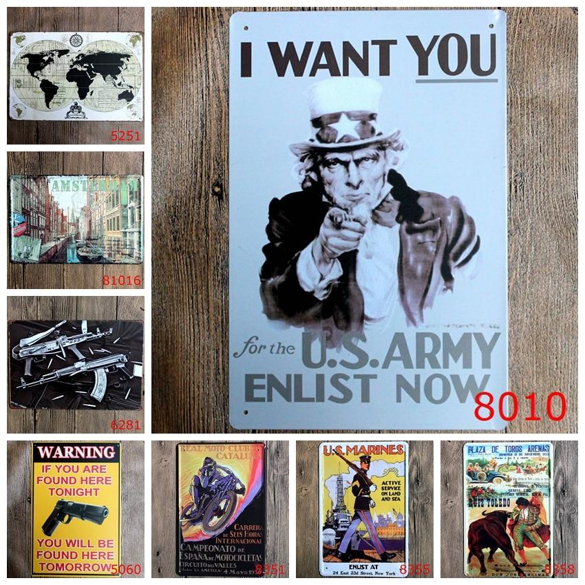 Мода 20*30 см я хочу, чтобы вы en список сейчас карта мира Амстердам Олово знак наружной стены Книги по искусству украшения бар Металл Картины